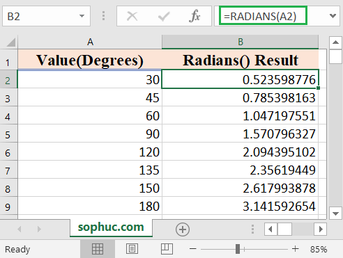 How to use the Excel RADIANS function