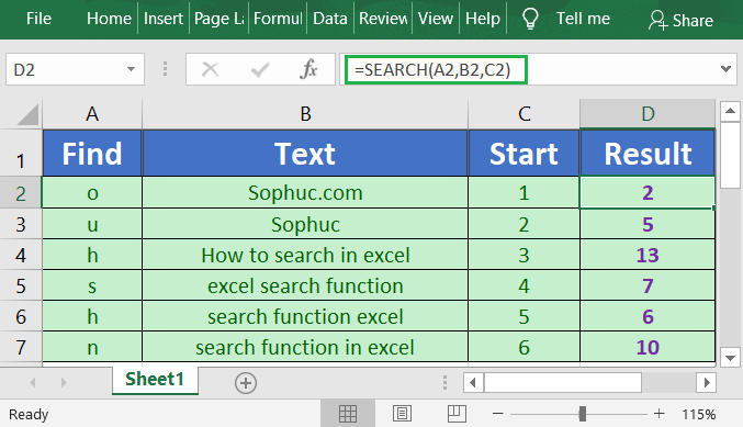 Excel SEARCH Function 1 - How to use the Excel SEARCH function