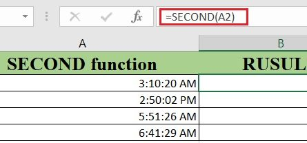 Excel SECOND Function 445x208 - How to use the Excel SECOND function