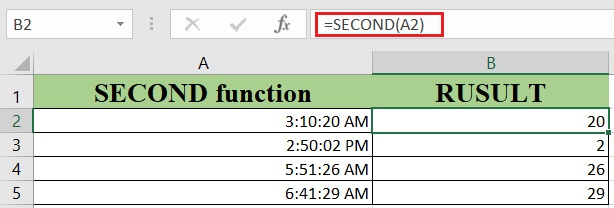How to use the Excel SECOND function