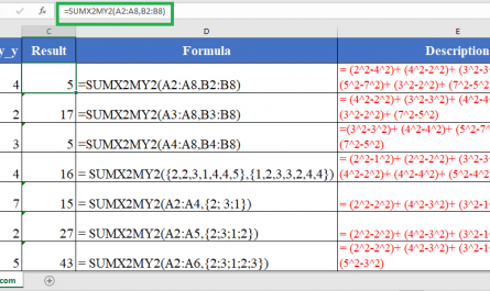 Excel SUMX2MY2 445x265 - How to use the Excel SUMX2MY2 function