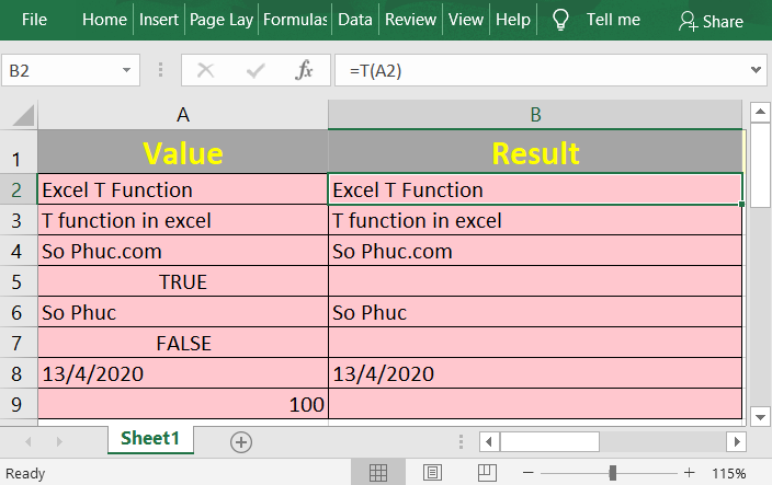 How to use the Excel T function