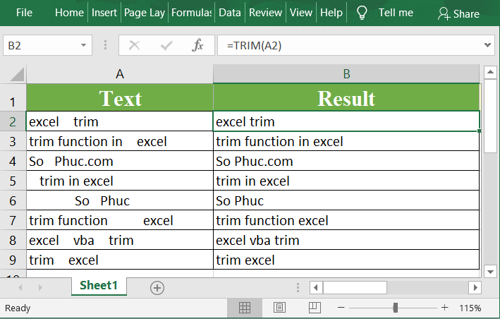 Excel TRIM Function 1 - How to use the Excel TRIM function