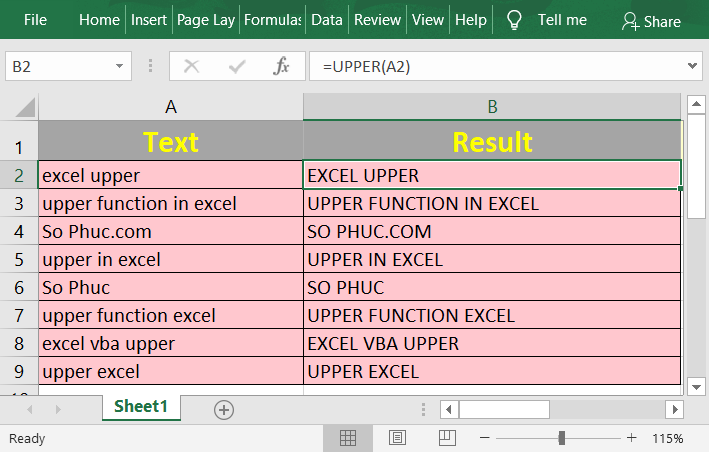 How to use the Excel UPPER function
