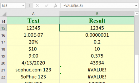Excel VALUE function 445x265 - How to use the Excel VALUE function
