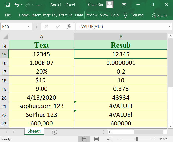 How to use the Excel VALUE function