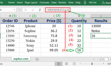 INDEX function 1 445x265 - How to use the Excel INDEX function