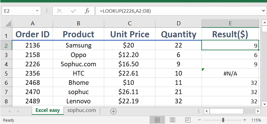 LOOKUP function - How to use the Excel LOOKUP function