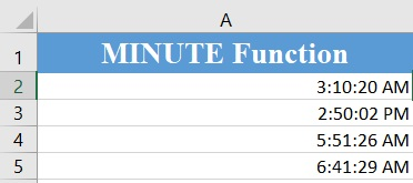 MINUTE Function 1 - Excel minute function