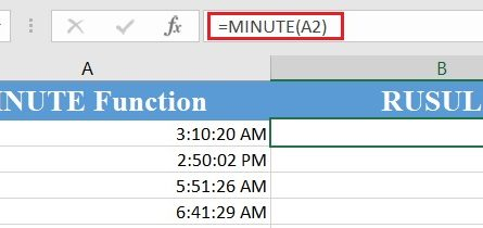 MINUTE Function 445x210 - Excel minute function
