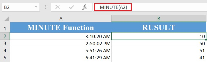 Excel minute function