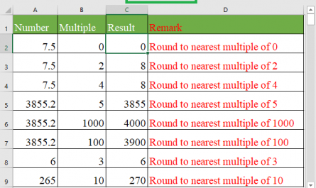 MROUND function 445x265 - How to use the Excel MROUND function