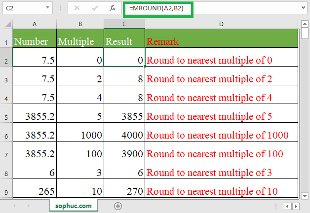 How to use the Excel MROUND function