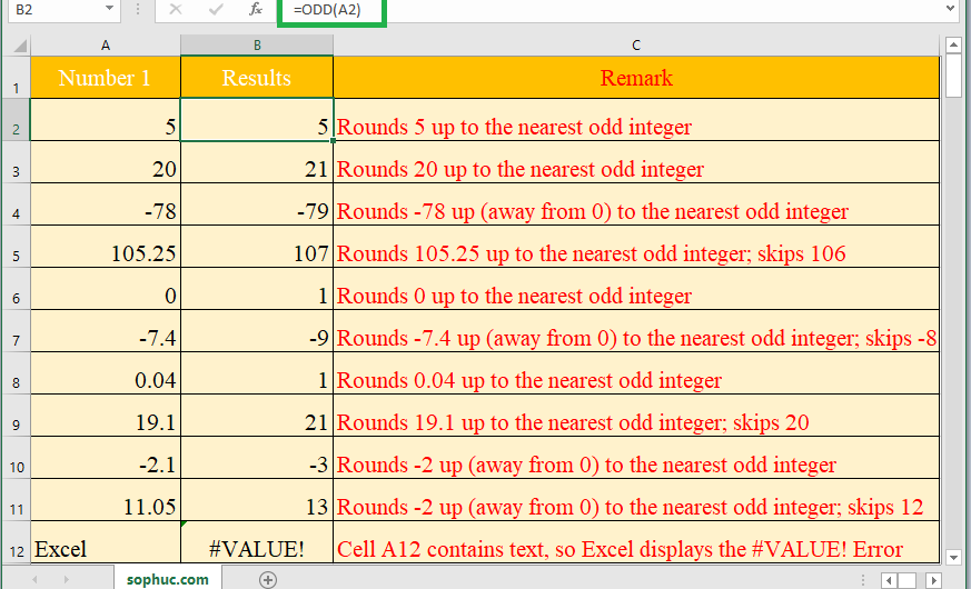 How to use the Excel ODD function