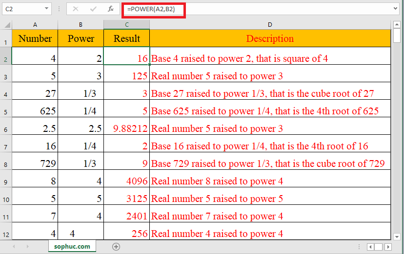 POWER function - How to use the Excel POWER function