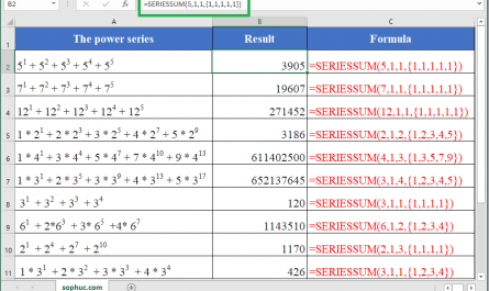 SERIESSUM function in excel 445x265 - How to use the Excel SERIESSUM function