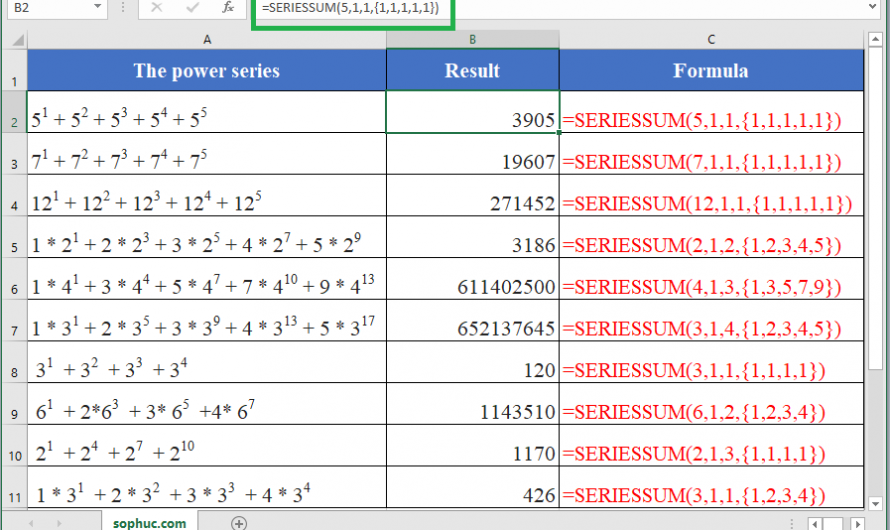 How to use the Excel SERIESSUM function
