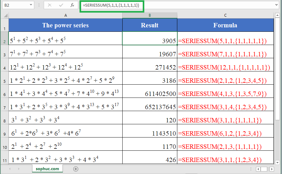 SERIESSUM function in excel - How to use the Excel SERIESSUM function