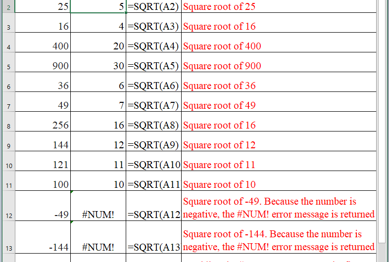 How to use the Excel SQRT function