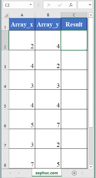 SUMXMY2 function in excel - How to use the Excel SUMXMY2 function