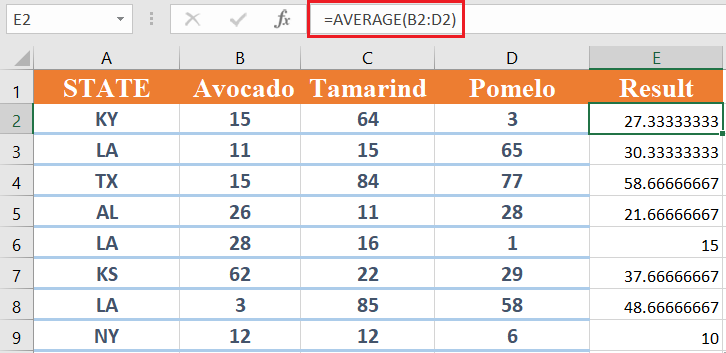 Average excel formula
