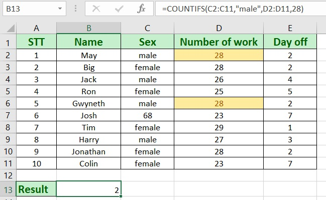 How to use countifs in excel