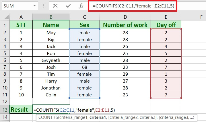 countifs in excel - How to use countifs in excel