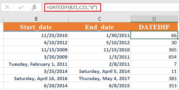 dateif 1 - How to use the Excel DATEDIF function