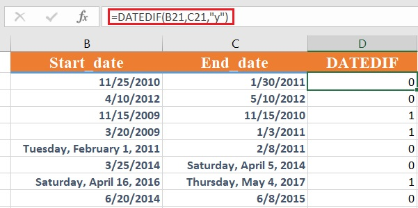 dateif 3 - How to use the Excel DATEDIF function
