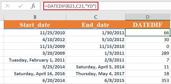 How to use the Excel DATEDIF function