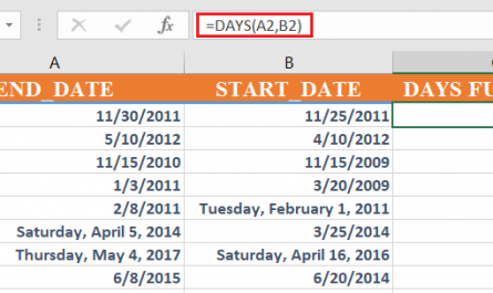 days function excel 445x265 - How to use the Excel DAYS function