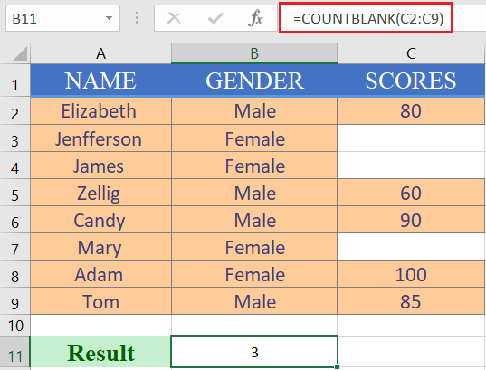 What is countblank function in excel