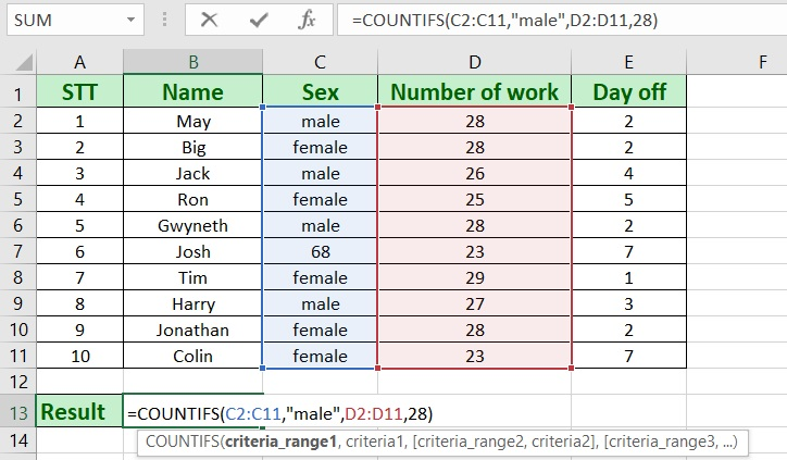 excel countifs - How to use countifs in excel