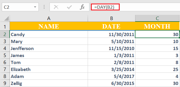 How to use Day function in excel