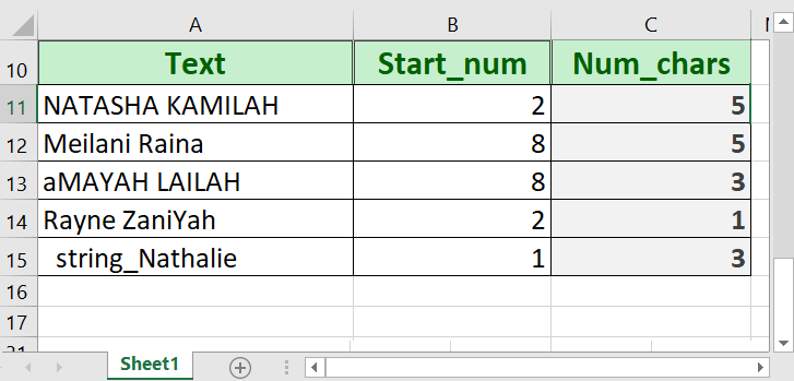 excel mid function 1 - How to use the Excel MID function