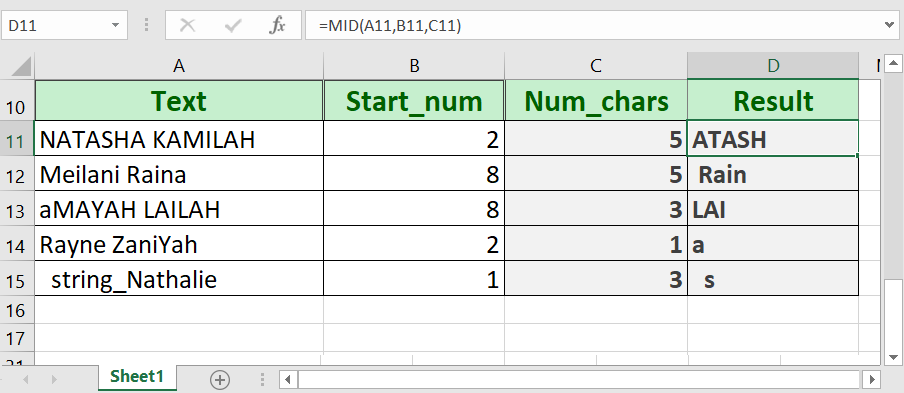 How to use the Excel MID function