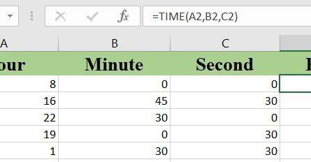 excel time 1 445x232 - How to use the Excel TIME function