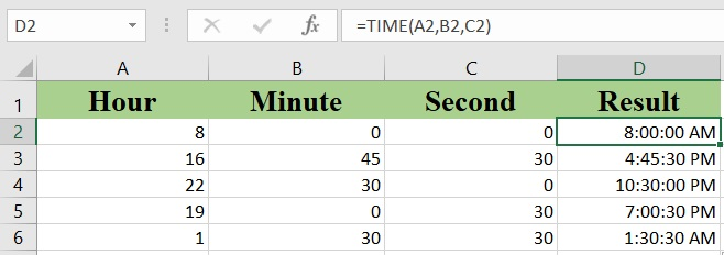 How to use the Excel TIME function