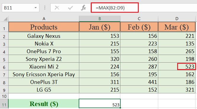 How to use max function in excel