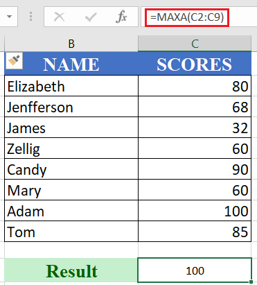 How to use the Excel MAXA function