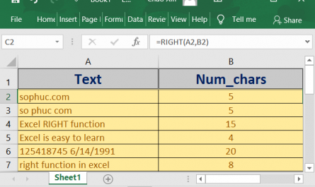 right function in excel 1 445x265 - How to use the Excel RIGHT function