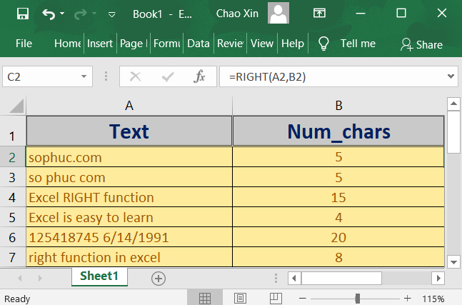 How to use the Excel RIGHT function