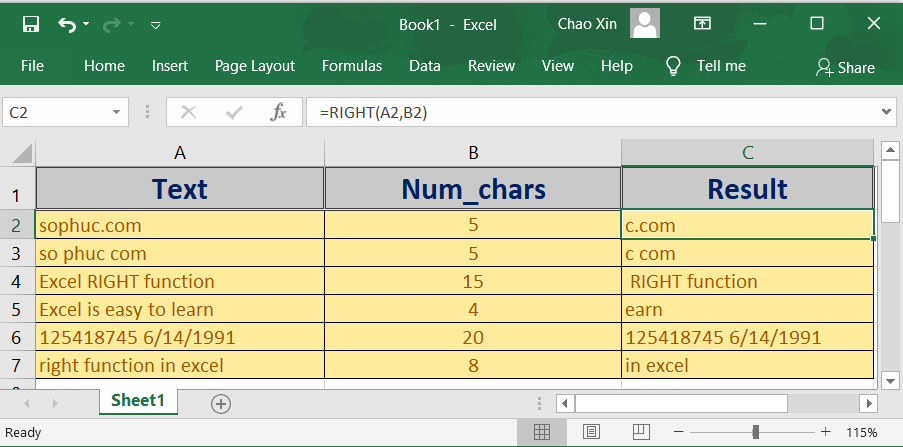 right function in excel - How to use the Excel RIGHT function