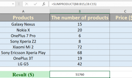 sumproduct excel 445x265 - How to use sumproduct in excel