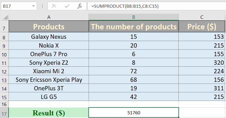 How to use sumproduct in excel