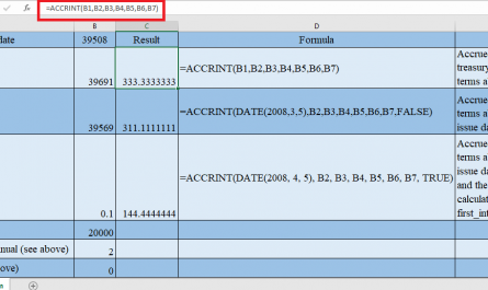 ACCRINT Function in Excel 1 445x265 - How to use ACCRINT Function in Excel