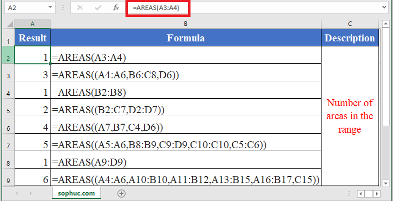 How to use AREAS Function in Excel