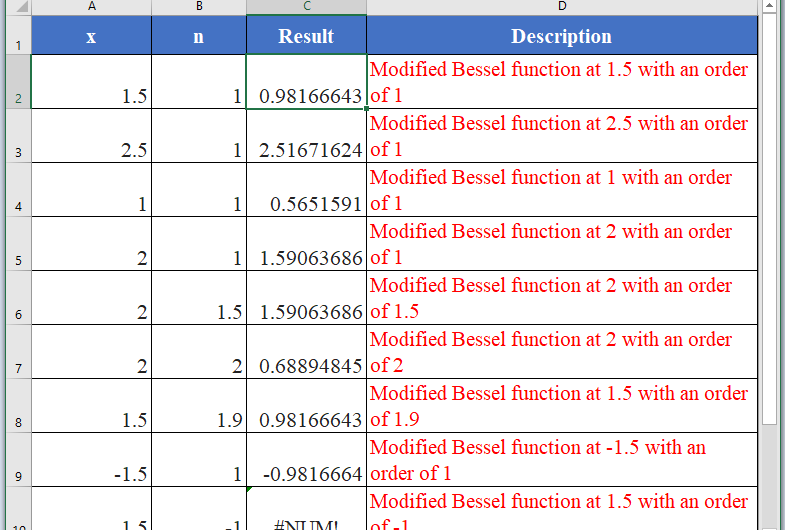How to use BESSELI Function in Excel