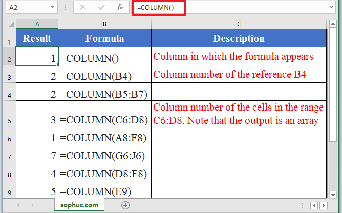 How to use COLUMN Function in Excel