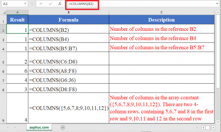 COLUMNS Function in Excel 445x265 - How to use COLUMNS Function in Excel